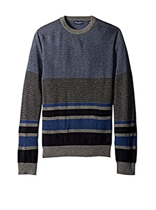 Linea Rosso Men's Merino Striped Crew Neck