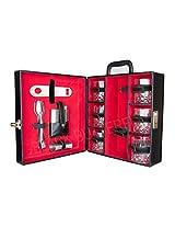 Bar accessories   Mega Bar Set   Portable Leatherette Briefcase Bar Set   Bar Set For Travel (11, Black)