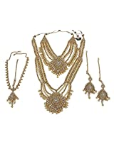 Beautiful Multi Color Brass Made Gold Plated Full Bridal Necklace Set For Indian Wedding Jewelry (White)