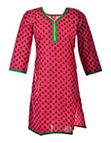 2Dots Women's Cotton Regular Fit Kurti (Pink, 40 Inches)
