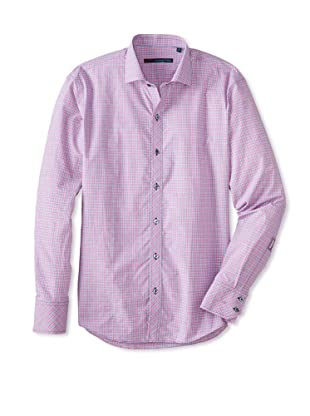 Zachary Prell Men's Chinh Checked Long Sleeve Shirt (Pink)