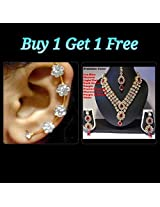 Buy 1 Get 1 Free Dark Pink Stone Three Line Necklace Set