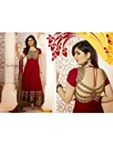 Ethnic Fire Disha Parmar Semi Stitched Anarkali Suit - Red