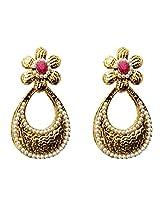 Dhwani Creation Drop Alloy Earrings For Girls and Women (Dark Pink)