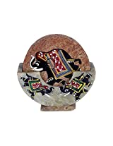 Creative Creations Marble Painted Tea Coaster ( 9 cm x 9 cm x 10 cm, Brown )