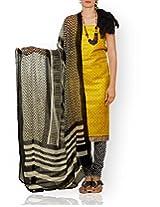 Unnati Silks Women Unstitched party yellow-cream pure Tussar ghicha silk salwar Kameez