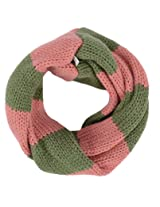 Simplicity Girl's Warm Infinity Scarf with Knitted Striped Pattern
