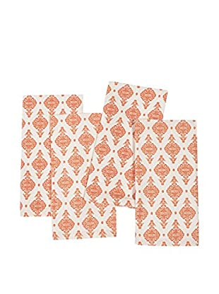 KAF Home Set of 4 India Print Napkins, Carrot Orange