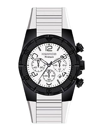 K&BROS 9480-2 / Reloj de Caballero con correa de caucho Blanco