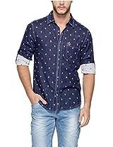 SPYKAR Men Cotton Bkue Casual Shirt (Large)