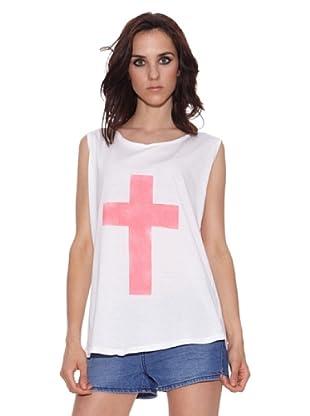 The Hip Tee Camiseta Acid Pink Angel (Blanco)