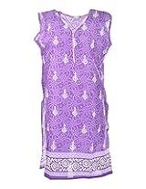 2Dots Women's Cotton Regular Fit Kurti (Purple, 42 Inches)
