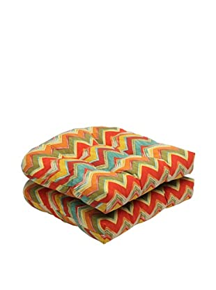 Pillow Perfect Set of 2 Outdoor Tamarama Wicker Seat Cushions, Multicolor