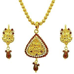 Surat Diamonds Red & White Kundan Polki Laxmi Goddess Motif Fashion Jewellery Set for Women (PS249)