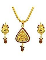 Surat Diamonds Red & White Kundan Polki Laxmi Goddess Motif Fashion Jewellery Set for Women (PS249)