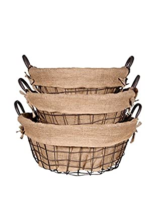 Set of 3 Farmhouse Round School Baskets