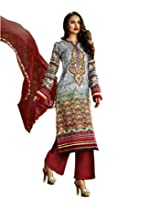 Admyrin Grey Cotton Printed Salwar Kameez with Maroon Chikan Work Bottom