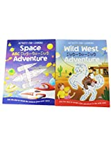 2 Top That Dot to Dot Story Activity Book Bundle. Wild West Adventure, and Space ABC Dot to Dot Adve