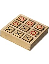 Tic-Tac-Toe Wooden Travel Board Game With Fixed Pieces