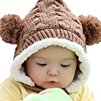 LOCOMO Baby Infant Knit Crochet Rib Pom Pom Winter Hat Cap Hood FBA008BRN Brown