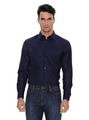 Versace Camisa Clásica (Azul marino)