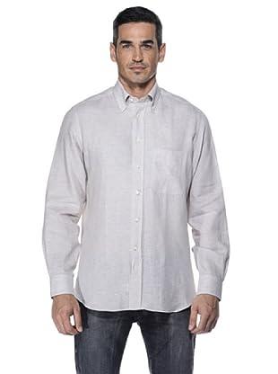 Camicissima Camisa Slim Fit Botton Down Lino (Natural)