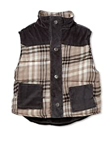 Lunchbox Boy's Quilted Western Plaid Reversible Vest (Grey)