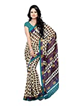 Ambaji Beige Coloured Dani Georgette Printed Saree