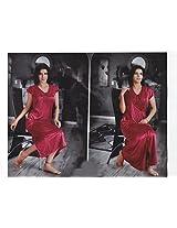 Indiatrendzs Hot Sexy Evening Wear Nightwear Women's Nighty Hot Red 2pc Set