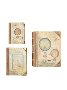 Punch Studio Set of 3 Large Nesting Book Boxes (Antique Curiosities)