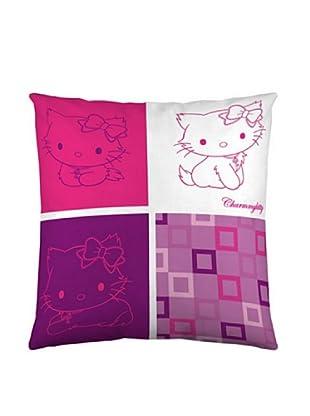 Euromoda Funda De Cojín Charmmy Kitty Squares (Rosa / Rojo)