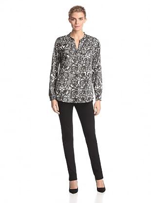 Calvin Klein Women's Printed Roll-Sleeve Top (Black/Birch Antique Lace)