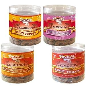 Almonds Tandoori Masala, Tangy Tomato, Lemon Pepper & Cheese Onion - Chocholik Dry Fruits - 4 Combo Pack