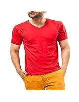 Unisopent Designs Men's V-Neck Half Sleeve T-Shirt (Red_Small)