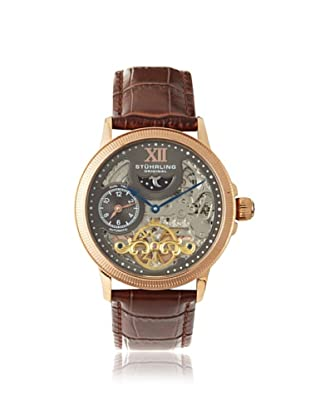 Stuhrling Men's 470.3345K54 Brown Skeleton Dial Stainless Steel and Leather Watch