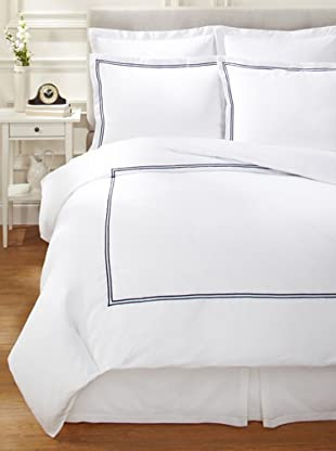 Mason Street Textiles Two Cord Duvet Set (White/Navy)