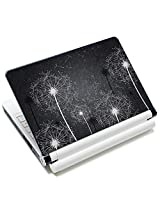 Meffort Inc 15 15.6 inch Laptop Skin Sticker Cover Art Decal Fits 13.3 14 15 16 Notebook PC (Free 2 Wrist Pad) - Black White Dandelion Design