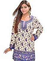 Exotic India Casual Kurti with Printed Paisleys - Color BlueGarment Size Free Size