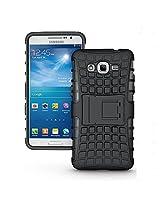 Samsung Galaxy Grand Prime 4G SM-G531F Case,Ziaon(TM) Flip Kickstand Rugged Dual Layer Black Hybrid Case for Samsung Galaxy Grand Prime 4G SM-G531F