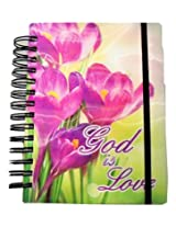 iDimension 3D Spiral Notebook or Journal ~ God is Love (Large Purple Flowers; 300 Pages, Elastic Clo