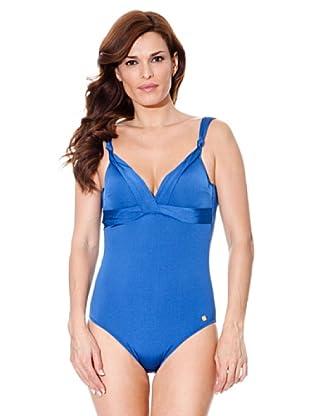 Cortefiel Badeanzug Basic (Blau)