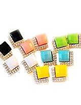 Vintage Black Stones Crystals Stud Earrings Black Jewelry (Pack of 4 Colors)
