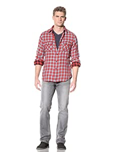 Martin Gordon Men's Long Sleeve Double-Ply Button-Up (Red)