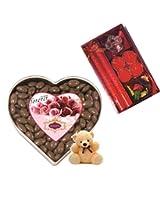 Skylofts 300gms Chocolate coated Raisins Nutties with an attractive candle diya set & a cute teddy Diwali combo
