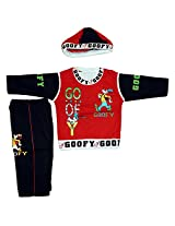 Boogie Woogie Bowo-11358-B Boy's Cotton Top & Bottom Set With Cap - (Black) - (Size - L)