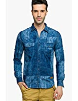Blue Washed Regular Fit Casual Shirt Status Quo