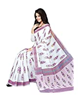 Printd White colour border work cotton saree with blouse piece