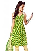 Lavis Women's Green & Yellow & cream Pure Cotton Dress Material