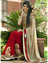 Bollywood Replica Model Nylon And Satin Chiffon Saree In Beige And Maroon Colour Nc719