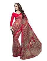 Suvastram Women Georgette Printed Red Saree